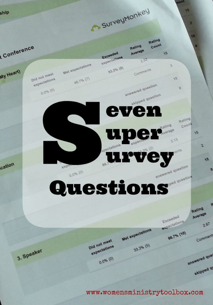 Seven Super Survey Questions for your Women's Ministry event.