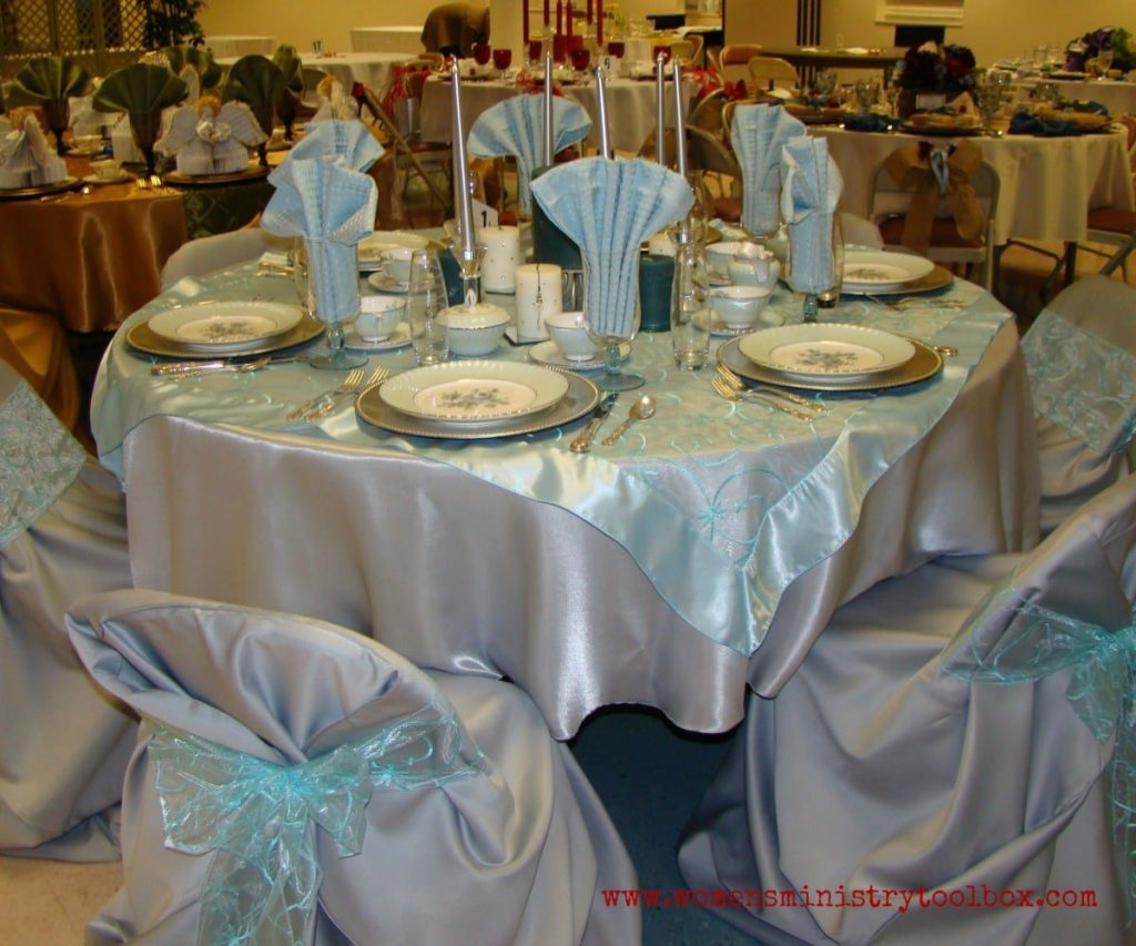 silver and blue table