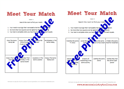 Free Printables for Meet Your Match Icebreaker