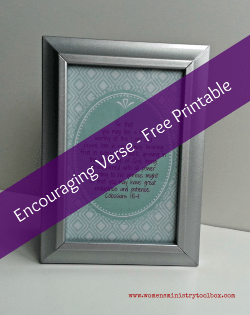 Encouraging Verse - Free Printable of Col 1:10-11