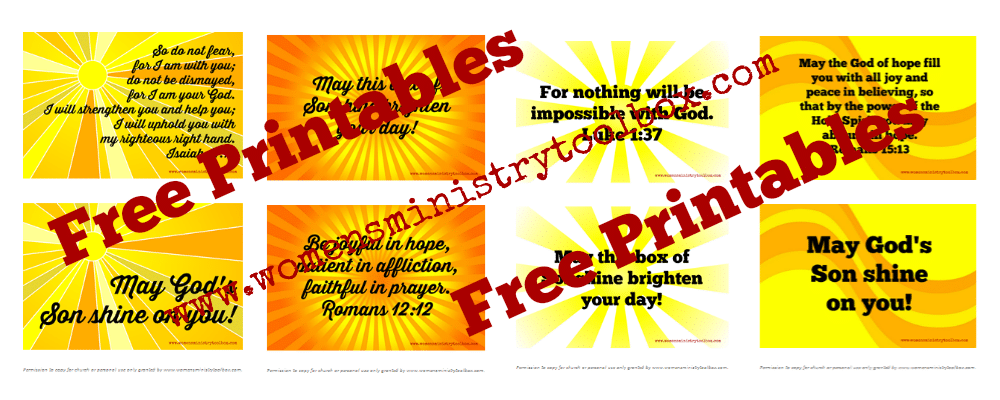 Free printable verses for Sonshine boxes from Women's Ministry Toolbox.