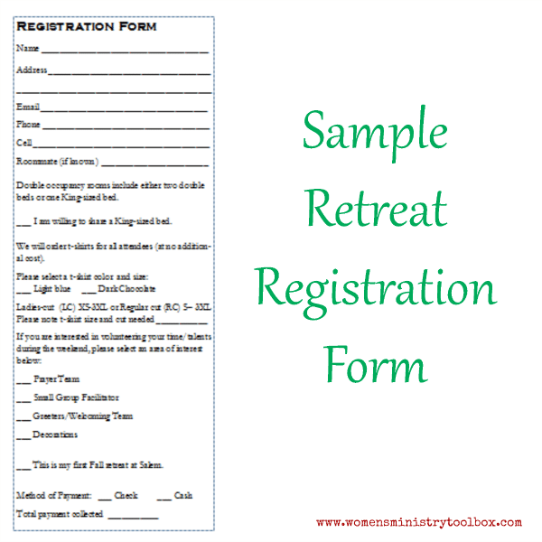 sample workshop registration form template - tip 14 creating registration forms women 39 s ministry