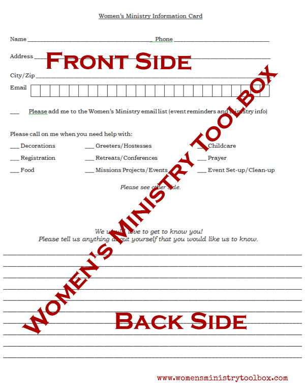 Free Printable Women's Ministry Information Form