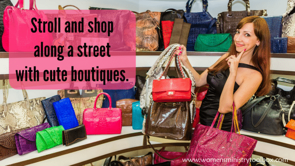 Stroll and shop along a street with cute boutiques