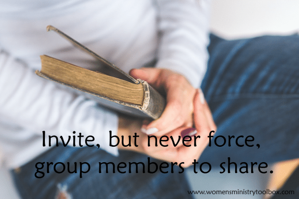 Invite, but never force, group members to share