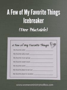 A Few of My Favorite Things Icebreaker (Free Printable)