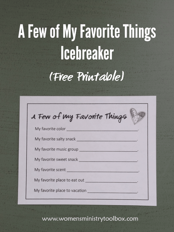 A Few of My Favorite Things Icebreaker (Free Printable)