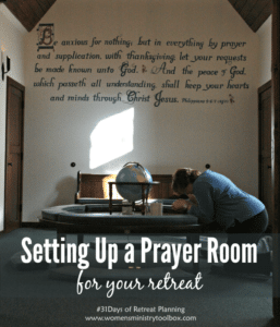 Day 20 – Setting Up a Prayer Room for Your Retreat