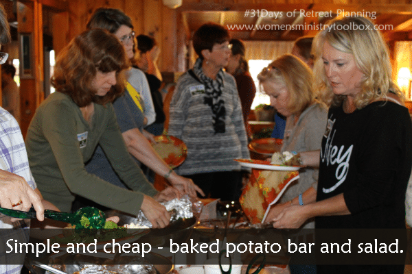 baked potato bar and salad