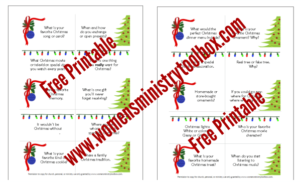 Free Printable Christmas Table Talk Cards