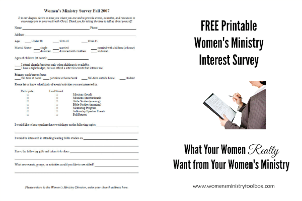 Free Printable Women's Ministry Interest Survey