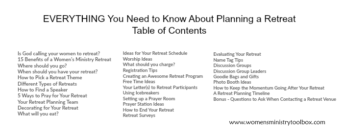 EVERYTHING You Need to Know About Planning a Retreat Table of Contents