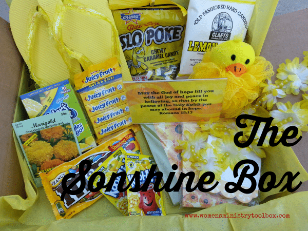 The Sonshine Box - Send a box of encouragement! Post includes free printable verses.