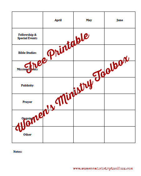Free Printable Year-at-a-Glance from Women's Ministry Toolbox