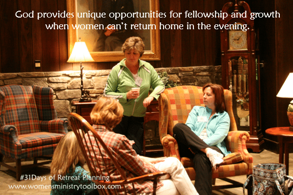 God provides unique opportunities for fellowship and growth when women can't return home in the evening