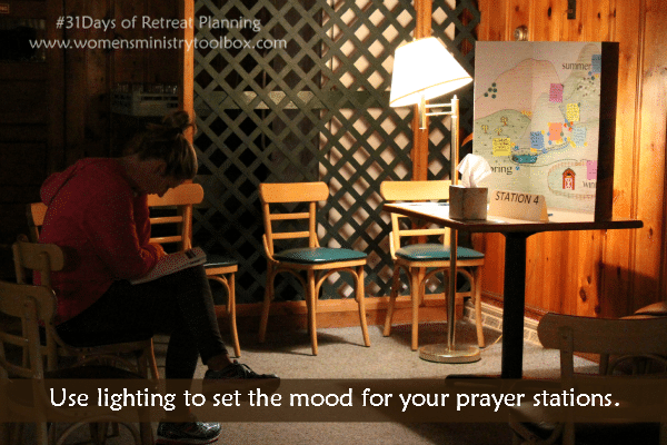 Use lighting to set the mood for your prayer stations