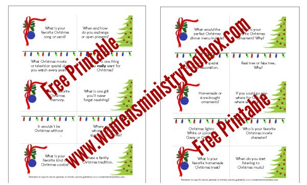 Free Printable Christmas Table Talk Cards