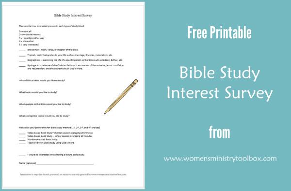 Free Printable Bible Study Interest Survey
