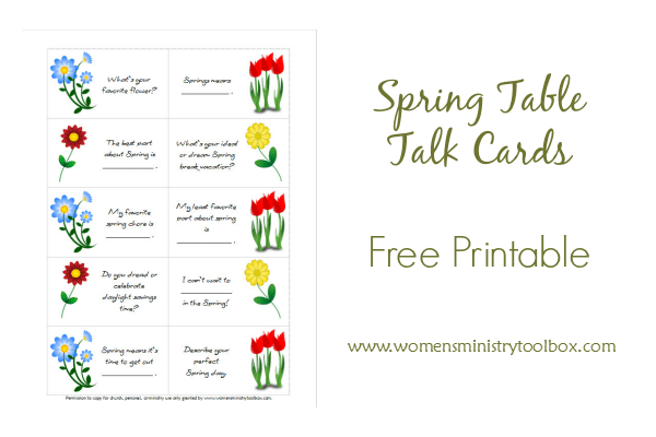 Spring Table Talk Cards - Free Printable