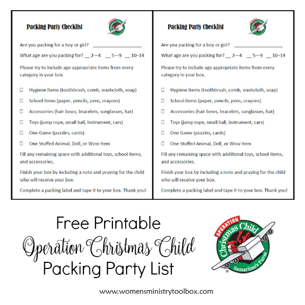 Free Printable Operation Christmas Child Packing Party List