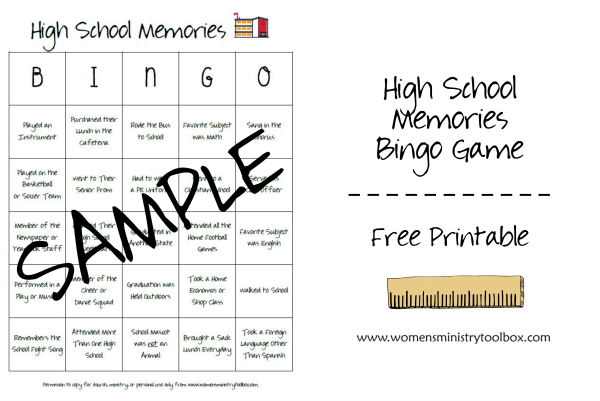 High School Memories Free Printable Bingo Game