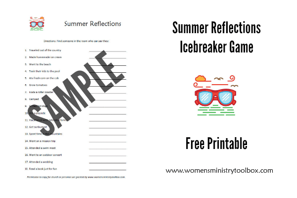 Summer Reflections Icebreaker Game Free Printable