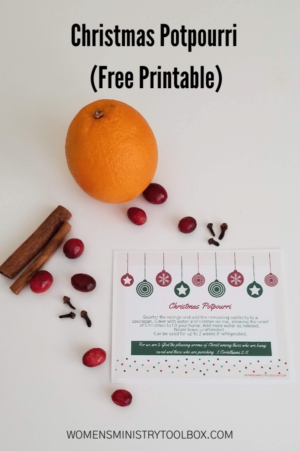 The perfect Christmas favor. It's diet and budget-friendly. Check out this Christmas Potpourri with free printable.
