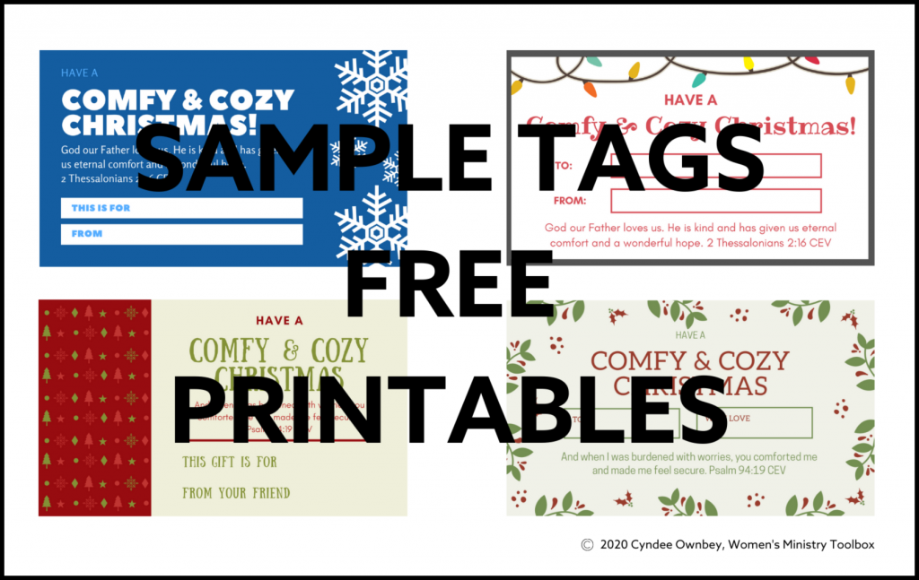 Sample tags for comfy and cozy inspirational Christmas gifts